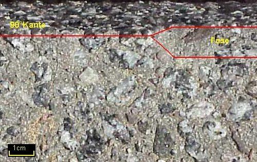 Beispiel Ausbildung der Kante an einer Granitbeton Stufe mit und ohne Fase